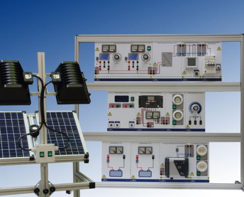 Equipo demostrador de energia solar fotovoltaica asilado y de red